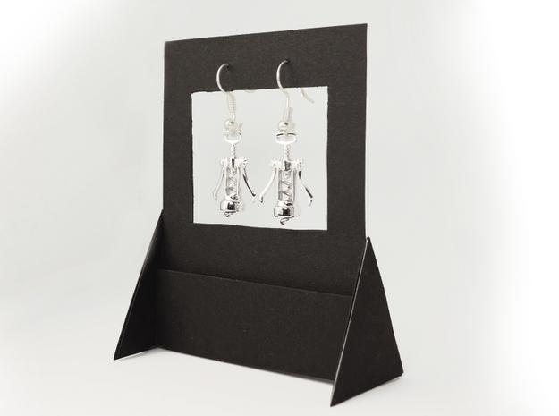 Corkscrew Earrings in Rhodium Plated Brass