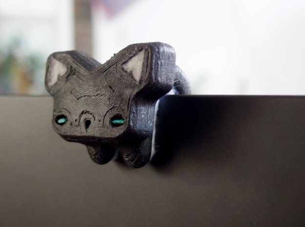 Cat Bear Webcam Privacy Shade / Cover / Charm in Black Natural Versatile Plastic