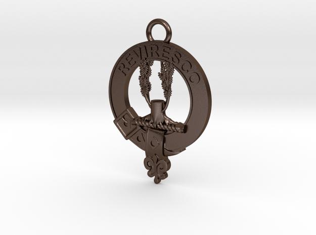 McEwen Clan Crest key fob in Polished Bronze Steel