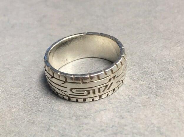 Subaru STI ring  - 16.5 mm (US size 6) in Natural Silver
