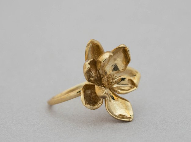 Magnolia Ring in Polished Brass: 5 / 49