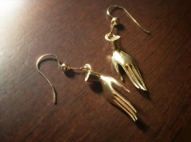 Varada Mudra Earrings  in Natural Brass