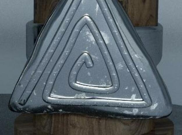 Vortex triangular ring in Polished Silver: 7.5 / 55.5
