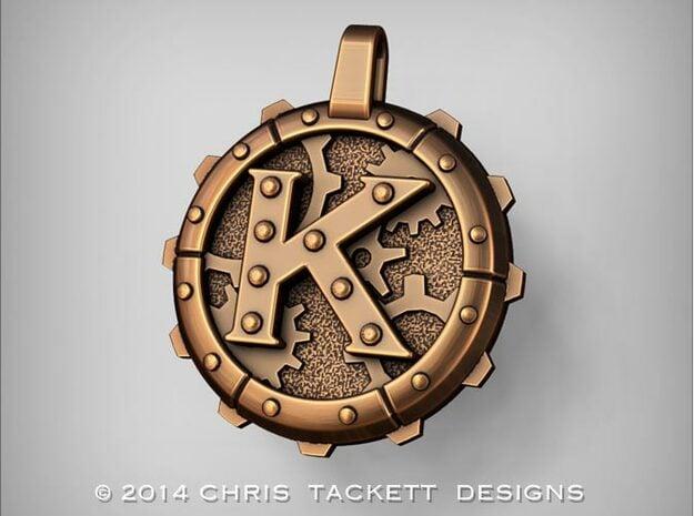 "Steampunk Monogram Pendant ""K"" in Natural Bronze"