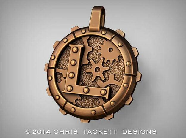 "Steampunk Monogram Pendant ""L"" in Natural Bronze"