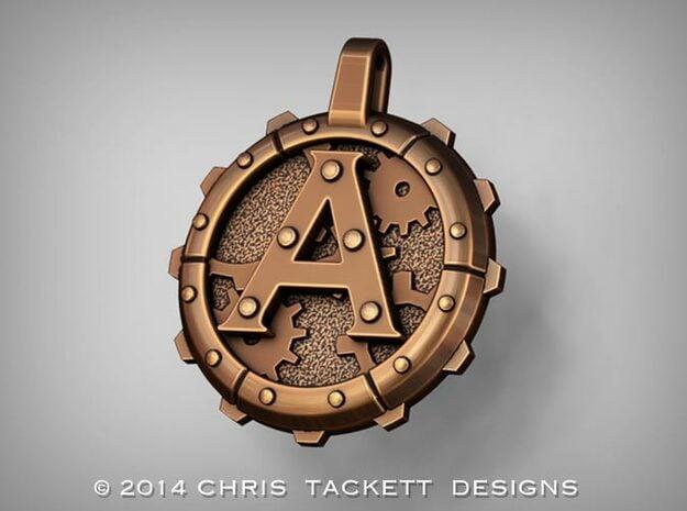 "Steampunk Monogram Pendant ""A"" in Natural Bronze"