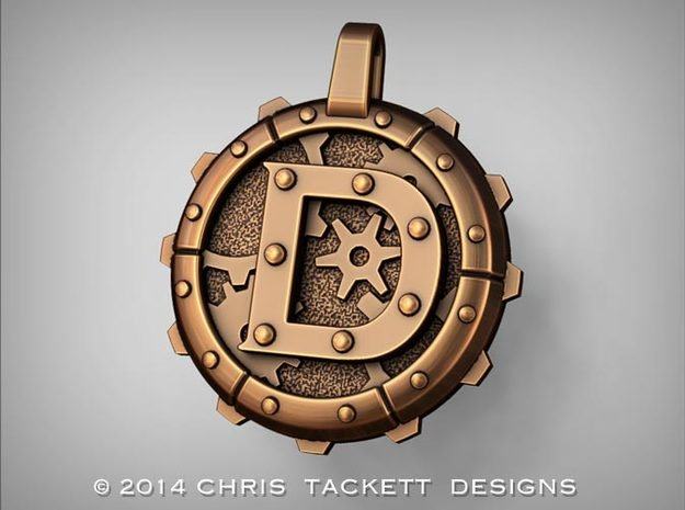 "Steampunk Monogram Pendant ""D"" in Natural Bronze"
