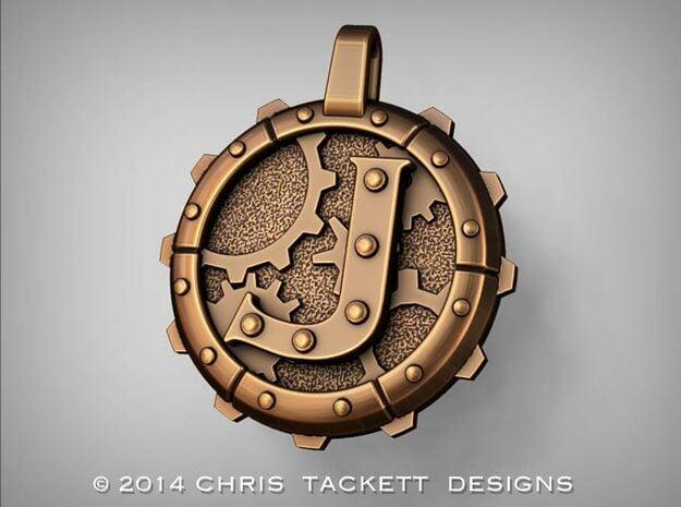 "Steampunk Monogram Pendant ""J"" in Natural Bronze"