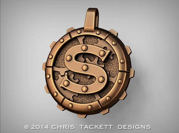 "Steampunk Monogram Pendant ""S"" in Natural Bronze"