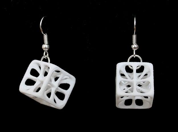 Hexahedron Earrings in White Processed Versatile Plastic