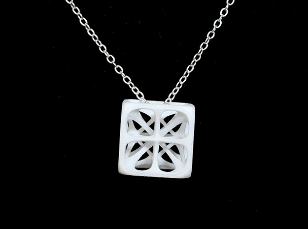 Hexahedron Pendant in White Processed Versatile Plastic