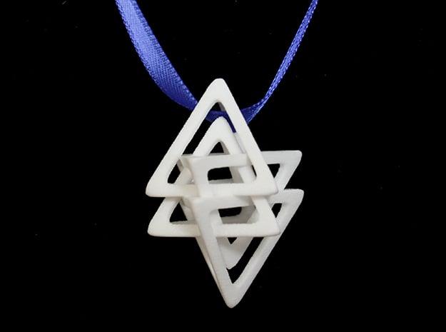 Dual Tetrahedron Pendant in White Processed Versatile Plastic