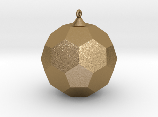 Soccer Ball Pendant in Polished Gold Steel: 15mm