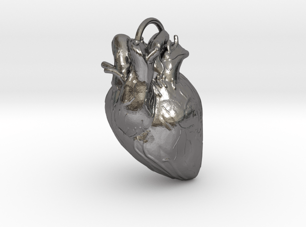 Heart pendant in Polished Nickel Steel: Extra Small