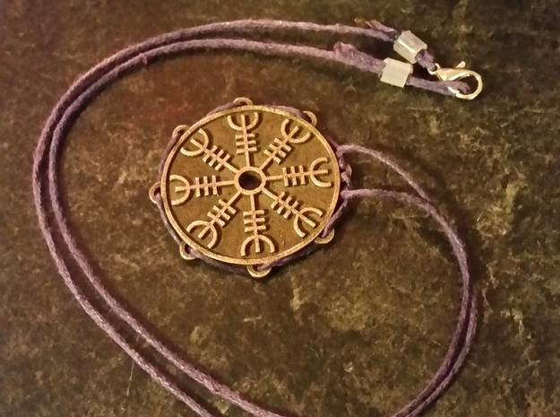 Dual-Sided Norse Medallion in Polished Bronze Steel