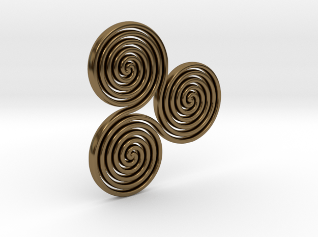 """Celtic """"life and death"""" triple spiral pendant in Polished Bronze"""