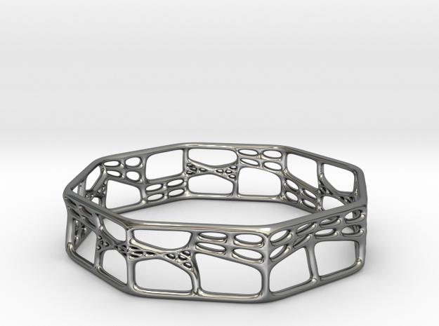 Voronoi Octagonal Bracelet (001a) in Fine Detail Polished Silver