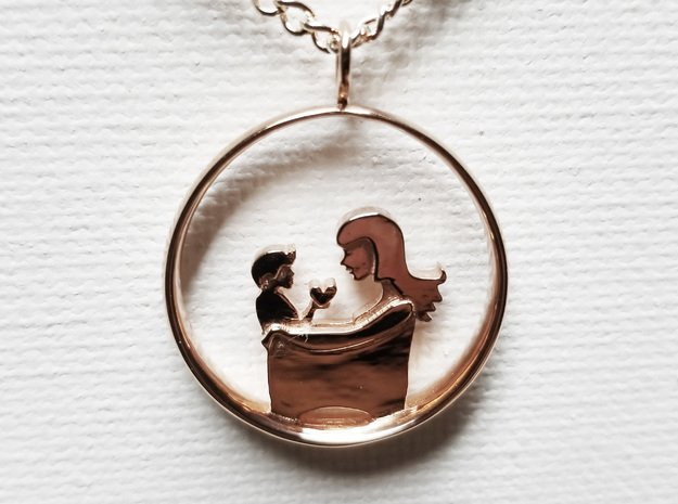 Mother & Son Pendant 3 -Motherhood Collection in 14k Rose Gold Plated Brass