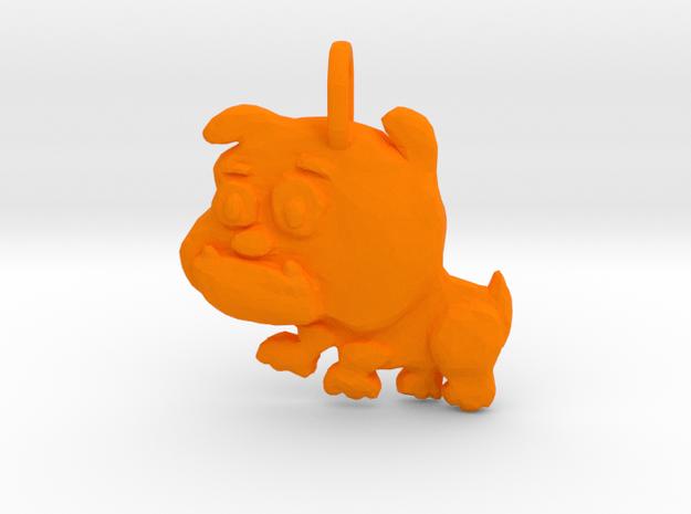 Baby Bulldog Pendant in Orange Processed Versatile Plastic