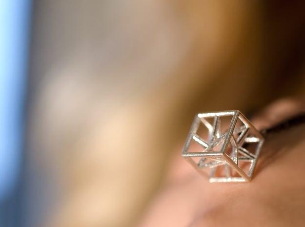 """cubo-stella"" - ""star-cube"" pendant in Natural Silver"