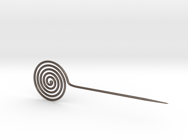 Spiral head clothes pin/ needle from the Bronze Ag in Polished Bronzed Silver Steel