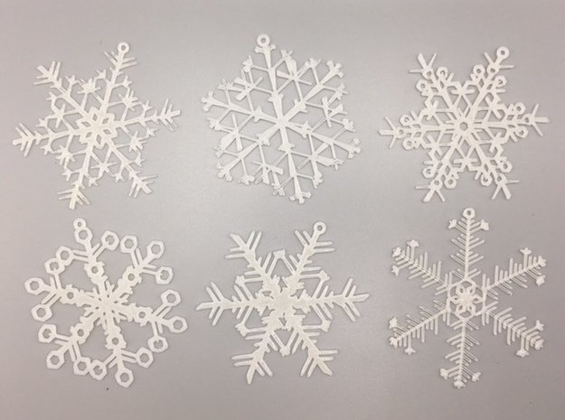 Organic Snowflake Ornaments - Stack of 6 in White Natural Versatile Plastic