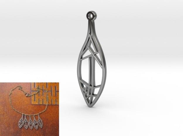 Personalised Voronoi Leaf Necklace (I) in Fine Detail Polished Silver