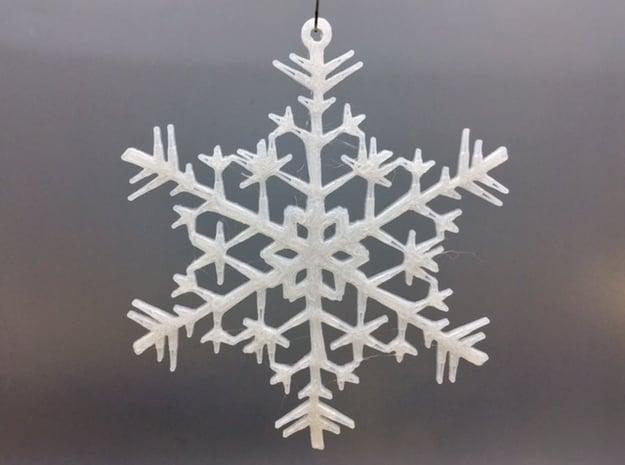 Organic Snowflake Ornament - Estonia in White Natural Versatile Plastic