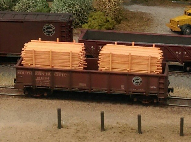 Lumber Load N Scale: 40' Gondola in Smooth Fine Detail Plastic