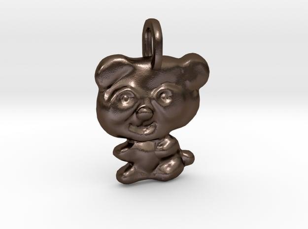 Panda Pendant in Polished Bronze Steel