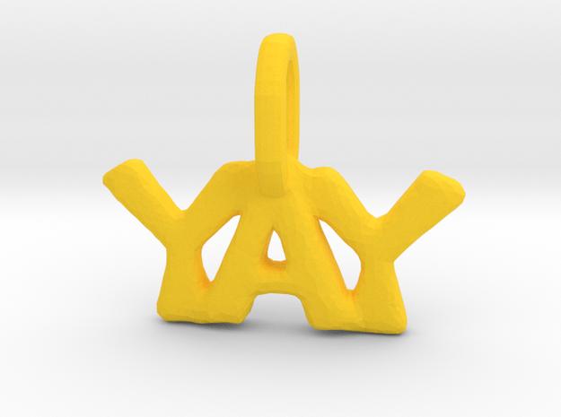 """Yay"" Pendant in Yellow Processed Versatile Plastic"