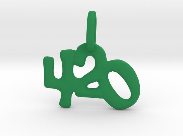 """""""420"""" Pendant in Green Processed Versatile Plastic"""