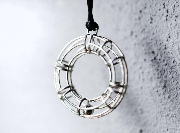 """Salvagente"" - doughnut - pendant in Natural Silver (Interlocking Parts)"