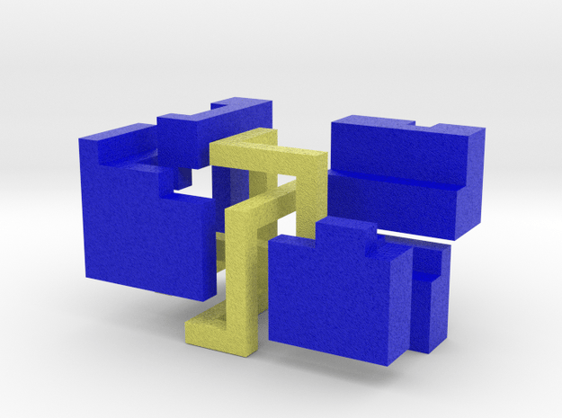 Puzzle mobius knot cube (blue and yellow)