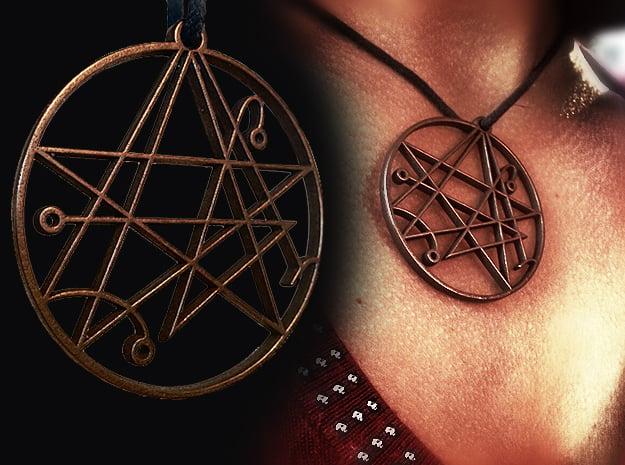 Mystical Cthulhu Symbol Pendant in Polished Bronze Steel
