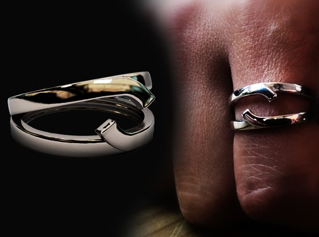 """Double Ring """"Comma"""" in Rhodium Plated Brass: 8 / 56.75"""