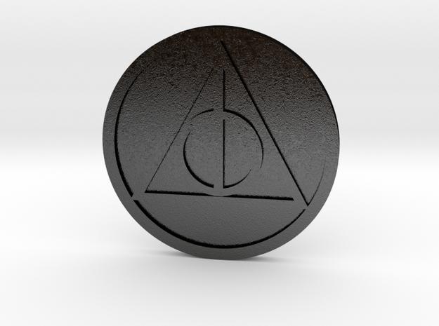 Hallows Coin in Matte Black Steel