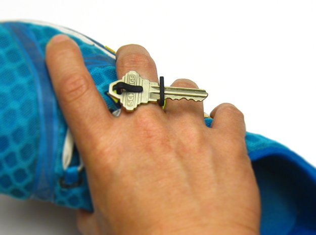 Keon V1*, a ring that holds your key(s) in White Processed Versatile Plastic