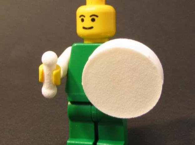 Bodhran (Irish Drum) for Minifigs in White Natural Versatile Plastic