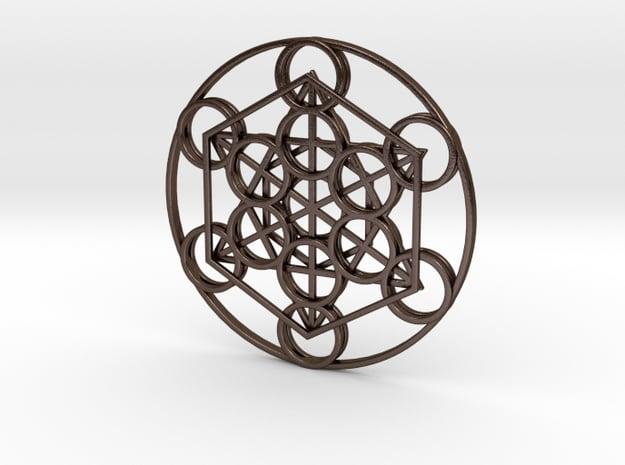 Metatron's Cube in Polished Bronze Steel