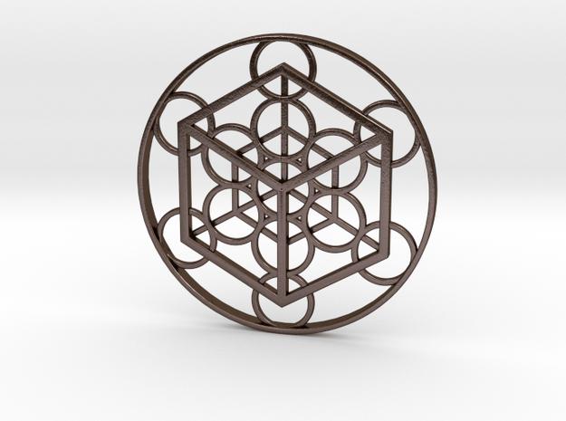 Metatron's Cube - Cube in Polished Bronze Steel