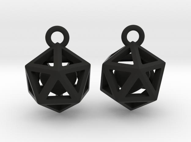 Polyhedron earrings with interlocked heart in Black Premium Versatile Plastic