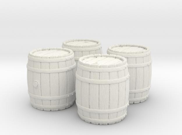 Wooden Barrel, x4, 28mm Scale in White Natural Versatile Plastic