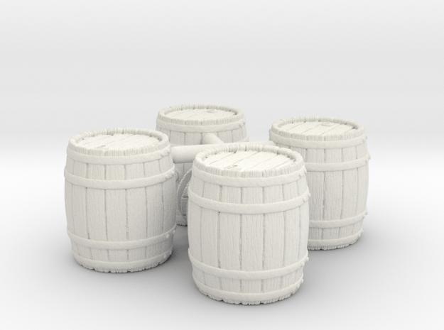 Open Wooden Barrel, x4, 28mm Scale in White Natural Versatile Plastic