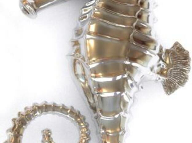 Seahorse Necklace Pendant in White Natural Versatile Plastic
