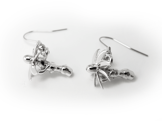 TP400 turboprop A400M engine earrings in Rhodium Plated Brass