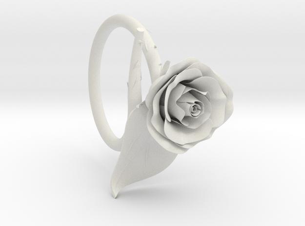 Rose Ring in White Natural Versatile Plastic