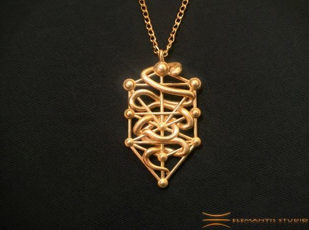 Kabbalah Serpent Pendant 4.5cm in Natural Brass