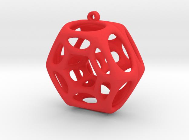 Voronoi Klein Earring (001) in Red Processed Versatile Plastic