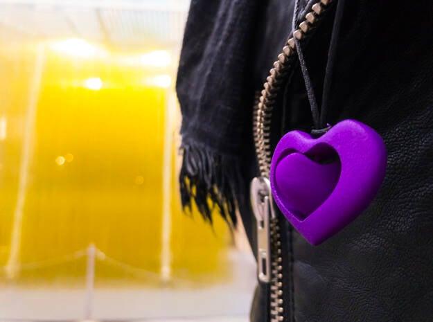 Rotating hearts in Purple Processed Versatile Plastic